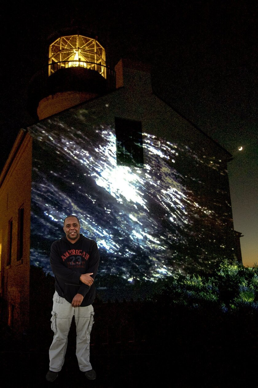 Neal Kendricks, film curator at MCASD-La Jolla, partners with Carlos to create an evocative video that was projected on the wall of Cabrillo's Lighthouse.