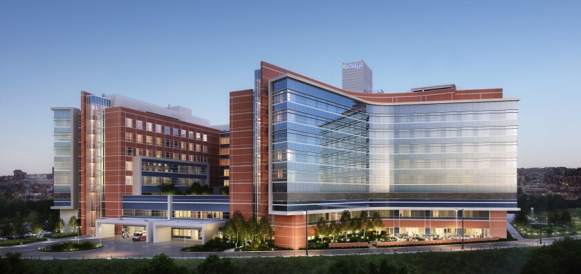 A rendering depicts the new second medical tower now under construction at Scripps Memorial Hospital La Jolla.