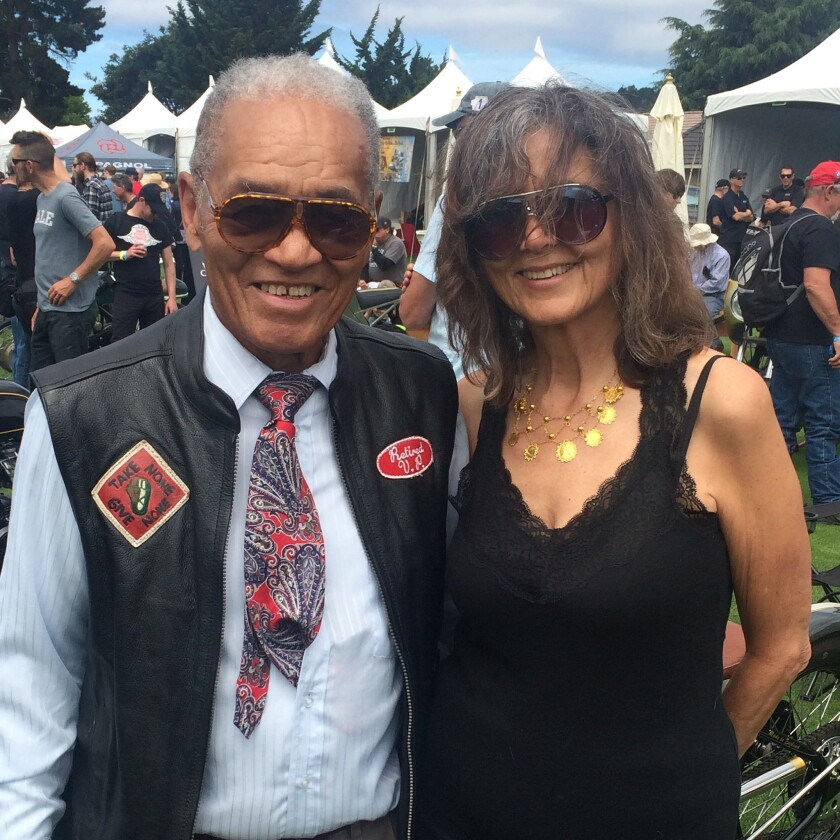 """Cliff Vaughs and his """"other half,"""" Daniella Sapriel, at the Quail Motorcycle Gathering in May 2016."""