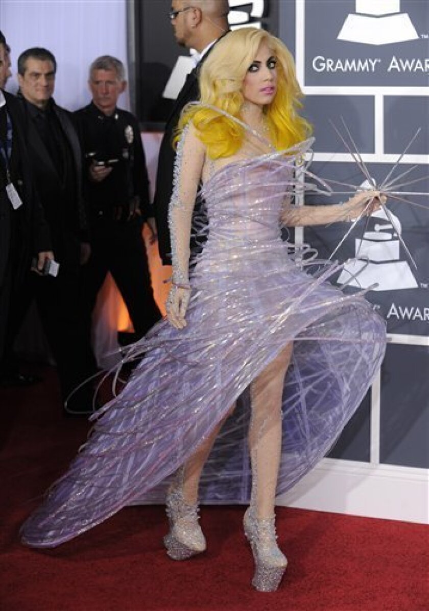 Lady Gaga arrives at the Grammy Awards on Sunday, Jan. 31, 2010, in Los Angeles. (AP Photo/Chris Pizzello)