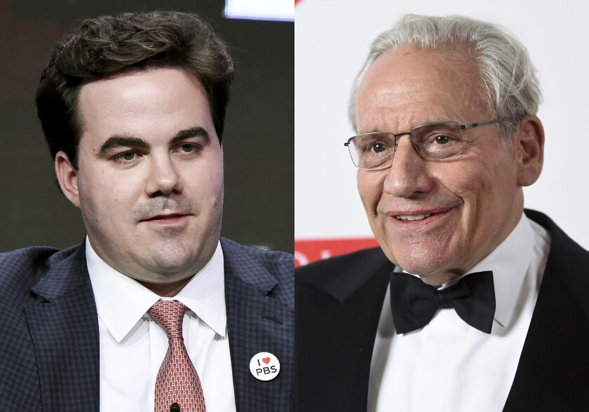 """This combination photo shows Robert Costa participating in the """"Washington Week"""" panel during the PBS portion of the 2017 Summer TCA's in Beverly Hills, Calif., on July 31, 2017, left, and PEN literary service award recipient Bob Woodward at the 2019 PEN America Literary Gala in New York on May 21, 2019. Woodward is teaming with Costa on a book about the waning days of Donald Trump's administration and on the initial phase of Joe Biden's presidency. The book does not yet have a title or release date. (AP Photo)"""