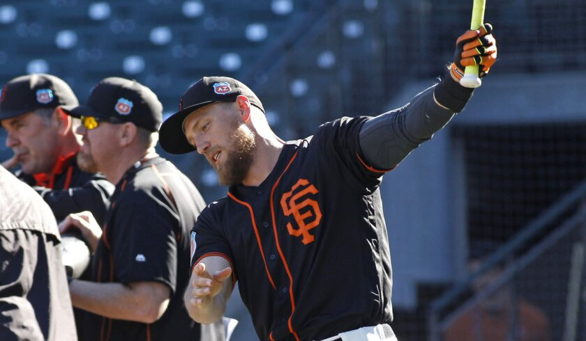 San Francisco's Hunter Pence warms up before batting practice on April17.
