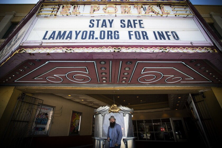 Josh Shaw at the theater where Pacific Opera Project was supposed to perform when the pandemic hit
