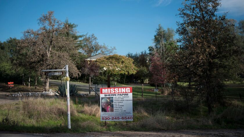 A sign seeking information about Shasta County resident Sherri Papini, who was missing for three weeks before being found Thursday morning, was posted near where she was last seen while on an afternoon jog.