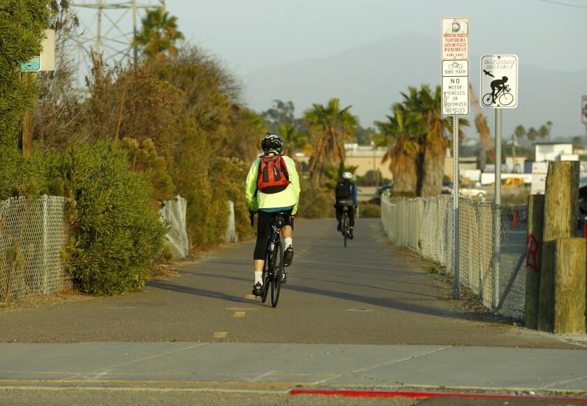 The Bayshore Bikeway as it runs through National City. Photo by K.C. Alfred/The San Diego Union-Tribune