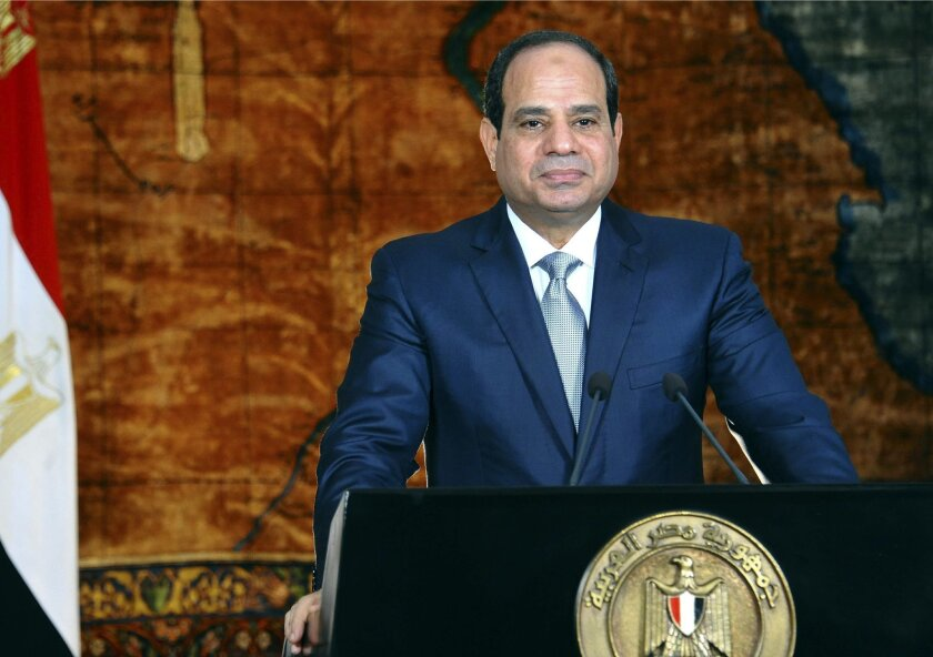 In this photo provided by Egypt's state news agency MENA, Egyptian President Abdel Fattah el-Sissi speaks in a nationally televised broadcast, in Cairo, Egypt, Saturday, Sept. 6, 2014. El-Sissi asked the public to be patient and grasp the extent of the challenges facing the country following a massive hours-long power outage on Thursday that struck the capital and other cities. He estimated the country needs about $12 billion over five years to upgrade and build new power plants to meet increasing demand. On Saturday, el-Sissi formed a new 16-member presidential advisory body of economic and science experts, who are mostly in their 60s and 70s, to advise him on how to tackle the country's myriad of problems. (AP Photo/Fady Fars, MENA)