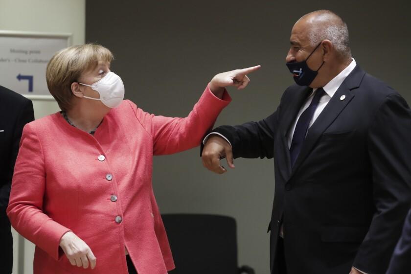 German Chancellor Angela Merkel and Bulgarian Prime Minister Boyko Borissov.