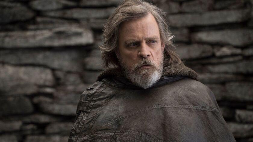 """Mark Hamill as Luke Skywalker in a scene from the movie """"Star Wars: The Last Jedi."""""""