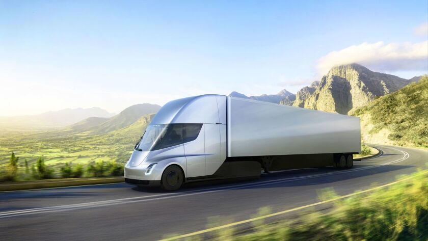 Tesla presents a new articulated lorry, Los Angeles, USA - 16 Nov 2017