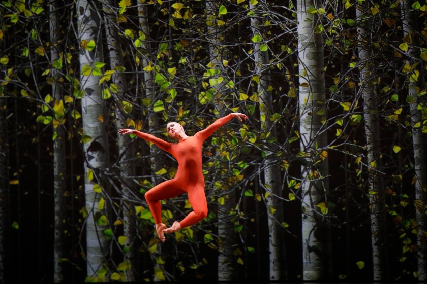 """Dancer Katherine Helen Fisher, in orange bodysuit, leaps in front of a backdrop of trees in rehearsal of """"Night of 100 Solos - A Centennial Event."""""""