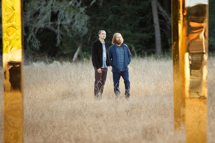 """Karl Glusman, left, and Nick Offerman on the secluded Silicon Valley campus at the center of """"Devs."""""""