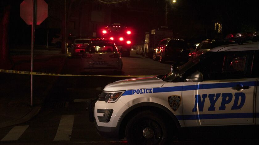 New York Police Department and New York City Fire Department units respond to a report of shots fire