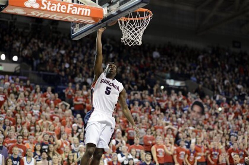 Gonzaga's Gary Bell Jr. makes a breakaway layup against Santa Clara, in the first half of an NCAA college basketball game, Wednesday, Feb. 20, 2013, in Spokane, Wash. (AP Photo/Jed Conklin)