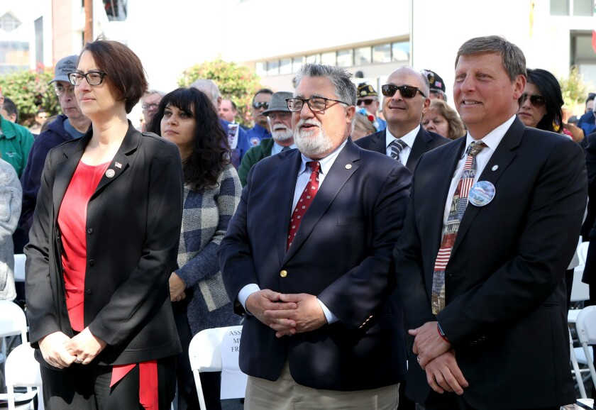 State Assemblywoman Laura Friedman, left, and state Sen. Anthony Portantino, center.