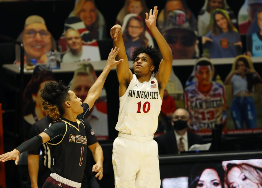 SDSU freshman Keith Dinwiddie Jr. shoots against Saint Katherine. He finished with 12 points in 16 minutes.