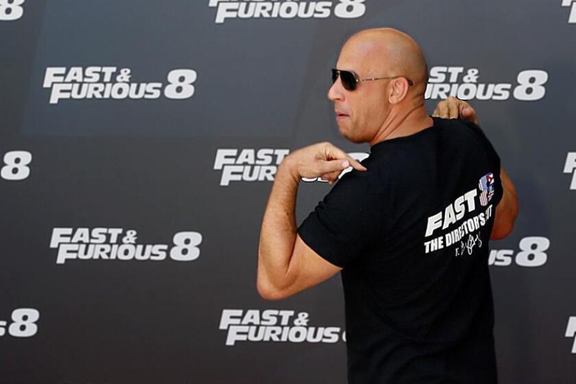 El actor estadounidense Vin Diesel posa durante un acto de promoción de la película 'Fast&Furious 8'. EFE/Archivo
