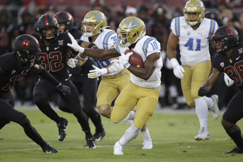 UCLA running back Demetric Felton (10) carries the ball during a game against Stanford on Oct. 17.