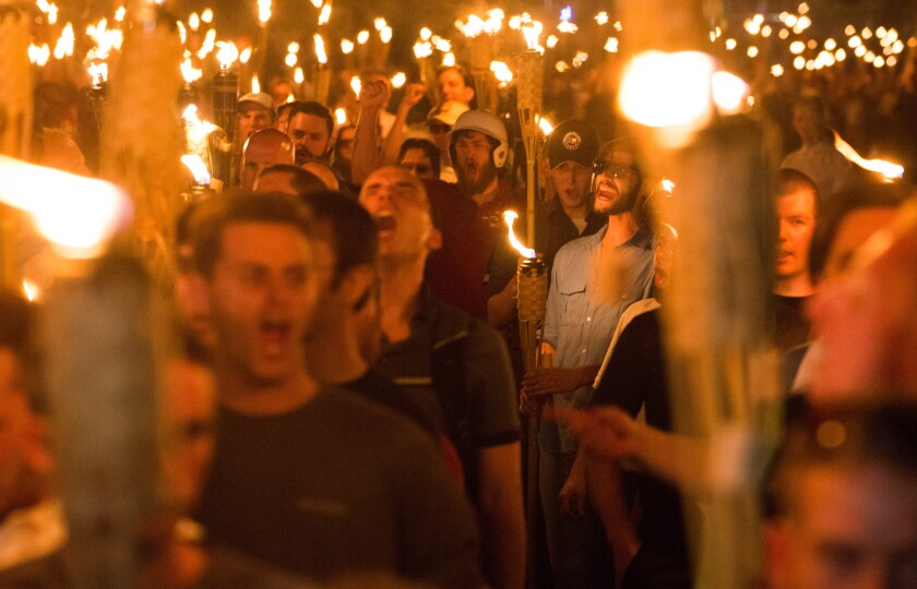 1 killed when car hits protesters at white nationalist rally in Virginia
