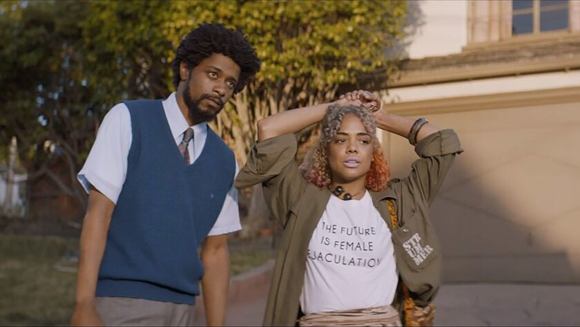 Lakeith Stanfield and Tessa Thompson appear in <i>Sorry to Bother You</i> by Boots Riley, an officia