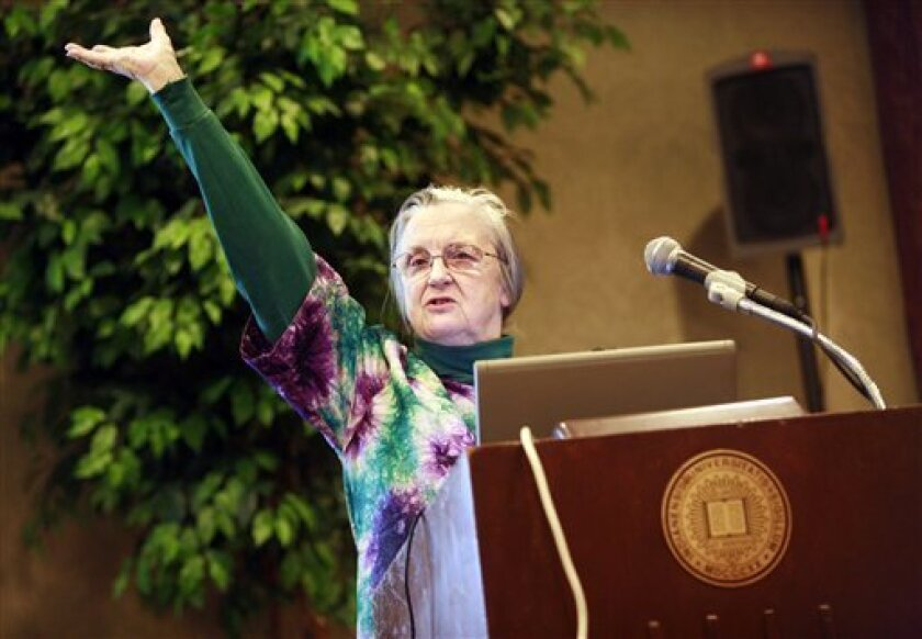 This photo made available by Indiana University shows Elinor Ostrom, who with Oliver Williamson won the Nobel economics prize on Monday for their analyses of economic governance. (AP Photo/Indiana University, Jacob Kriese)