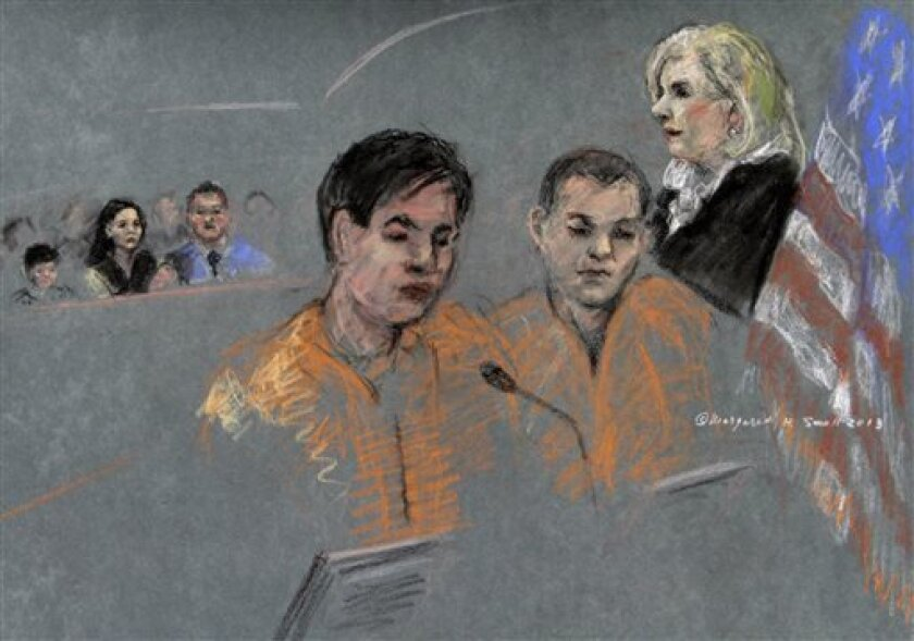 In this courtroom sketch, defendants Dias Kadyrbayev, left, and Azamat Tazhayakov appear before Magistrate Judge Marianne Bowler Tuesday, Aug. 13, 2013 in federal court in Boston. The two college friends of Boston Marathon bombing suspect Dzhokhar Tsarnaev pleaded not guilty to allegations they conspired to obstruct justice by agreeing to destroy and conceal some of their friend's belongings as he evaded authorities. (AP Photo/Margaret Small)