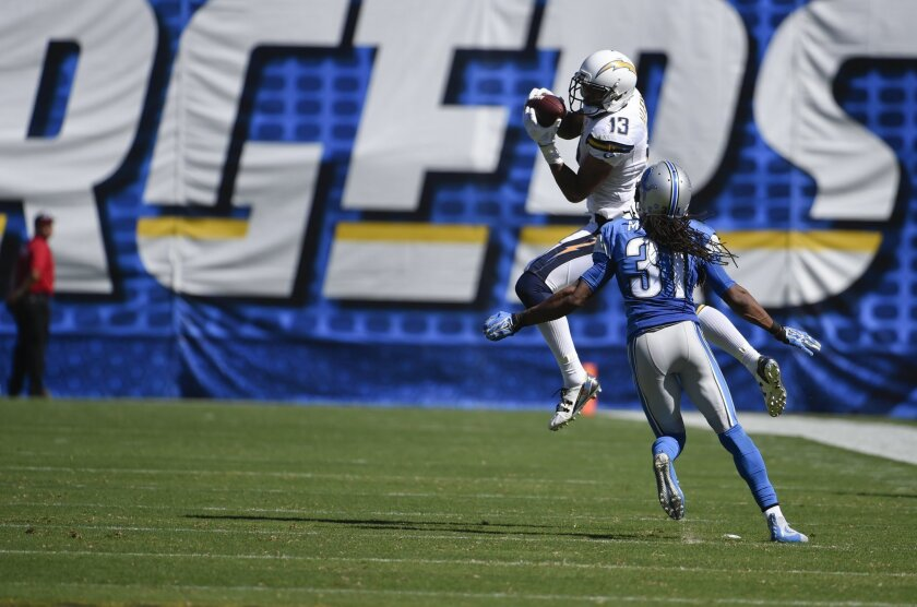Chargers wide receiver Keenan Allen catches a pass Sept. 13, 2015, against Lions cornerback Rashean Mathis.