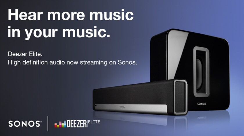 Sonos, manufacturer of networked music devices, and Deezer, the world's second-most popular subscription music service, announced Wednesday that Deezer was entering the U.S. market with a new high-quality on-demand service offered exclusively through Sonos.