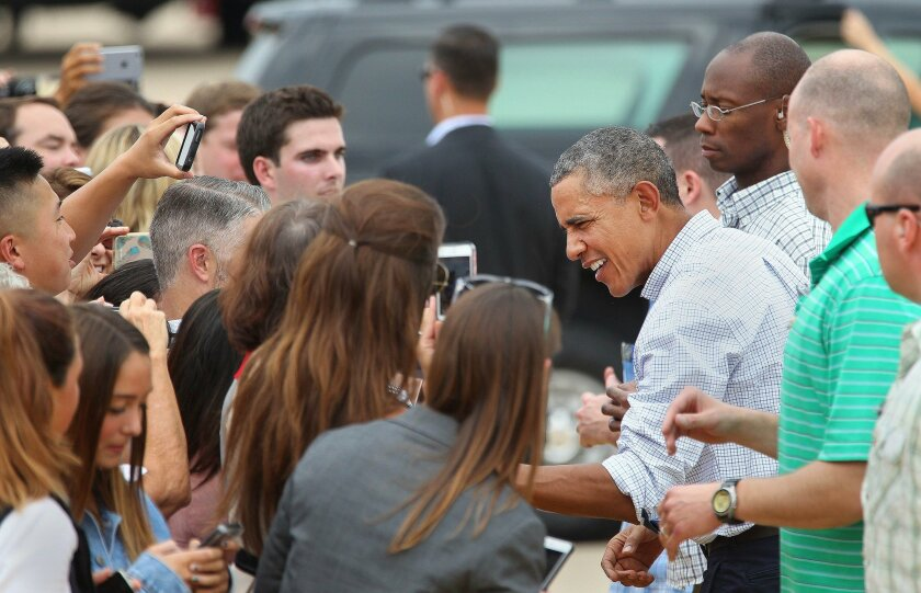 President Barack Obama and Air Force One departed MCAS Miramar around 1:30pm Monday after the president spent Columbus Day weekend in town and greeted well-wishers before boarding.