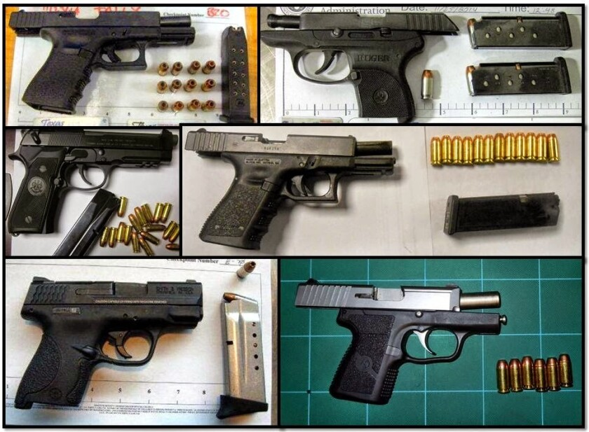 The number of firearms found in carry-on bags at U.S. airports jumped in 2015, according to the Transportation Security Administration.