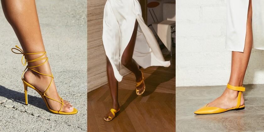 Three styles of mustard-yellow sandals by Tamara Mellon