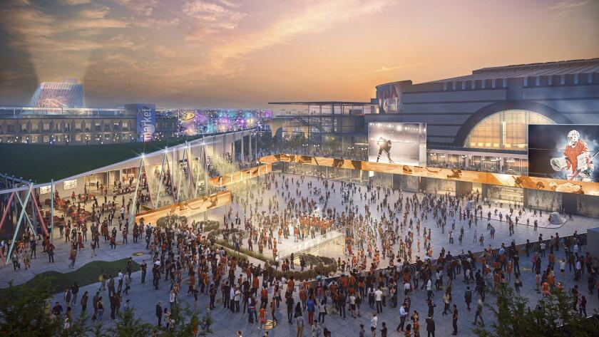 An artist's rendering of the development of exterior of the Honda Center