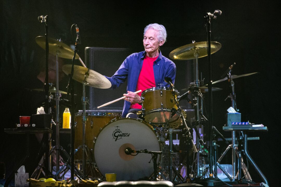 Rolling Stones drummer Charlie Watts plays during the band's No Filter tour at NRG Stadium in 2019.