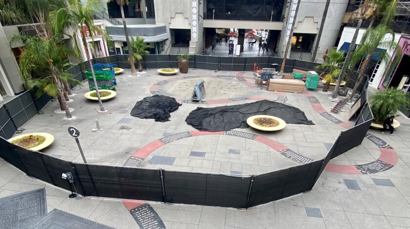"""Erika Rothenberg's """"The Road to Hollywood"""" pathway snakes across the plaza of Hollywood & Highland amid construction."""