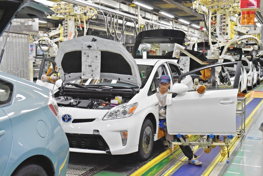 The Toyota Prius is by far the bestselling hybrid in U.S. history, with more than 1.8 million units sold since its debut as a 2001 model. It has, in recent years, often been the bestselling car of any kind in California. Above, a Prius assembly line in Japan in December.