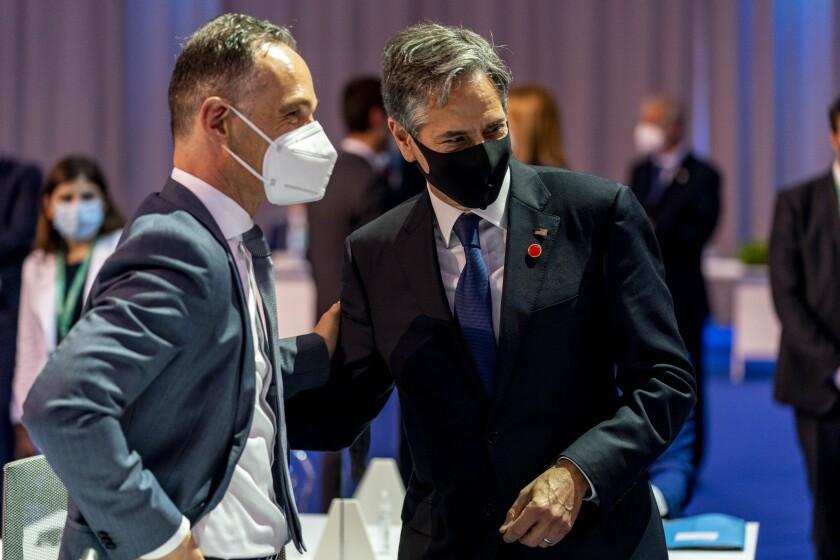 Secretary of State Antony J. Blinken speaks to German Minister of Foreign Affairs Heiko Maas in Rome.