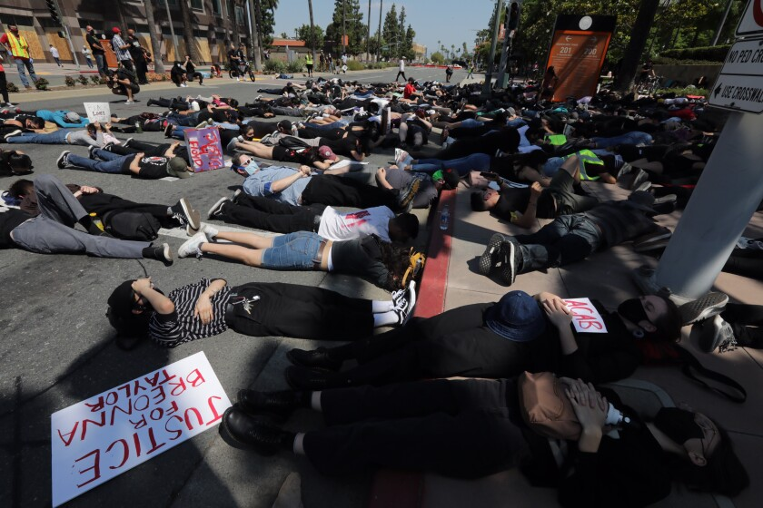 A group of demonstrators stage a sit-in in front of the Anaheim Civic Center