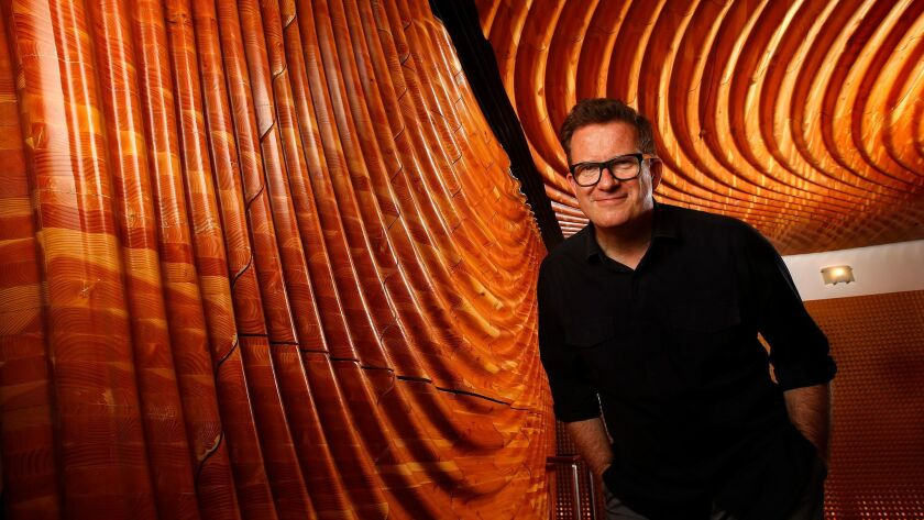 """Choreographer Matthew Bourne photographed at the Ahmanson Theatre in Los Angeles, where """"The Red Shoes"""" will have its American premiere."""