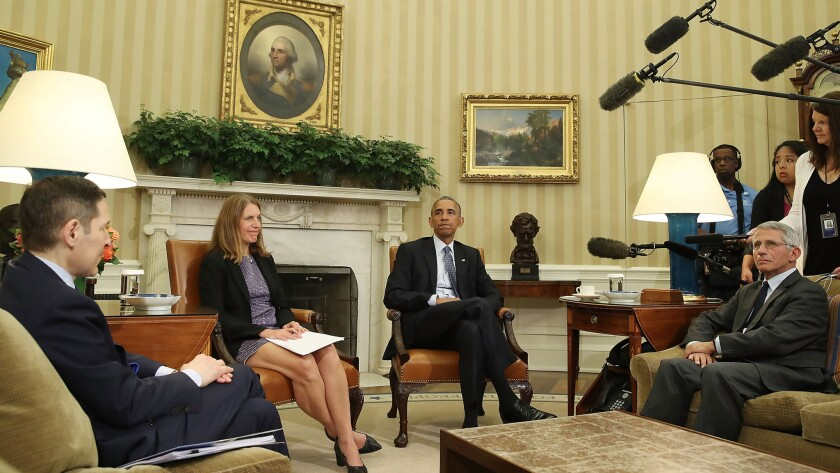 President Obama receives a briefing on Zika funding July 1 from CDC director Tom Frieden (far left), HHS Secretary Sylvia Mathews Burwell (second from left) and NIH official Anthony Fauci (right).