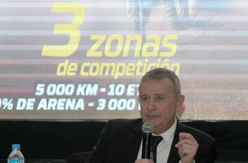 Rally Dakar director Etienne Lavigne speaks during the presentation of the 2019 Rally Dakar, in Lima, Peru, 04 November 2018. The 2019 edition will be held in one country only for the first time in the race's history. EPA-EFE/Ernesto Arias