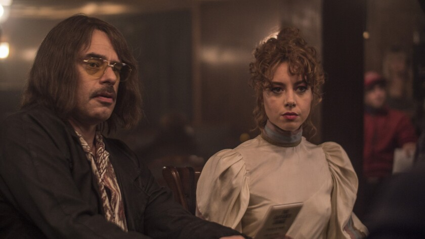 """Jemaine Clement and Aubrey Plaza in the movie """"An Evening With Beverly Luff Linn."""""""
