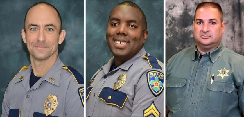 Left to right, Baton Rouge police officers Matthew Gerald and Montrell Jackson and East Baton Rouge Parish Deputy Brad Garafalo were killed by Gavin Eugene Long on Sunday.