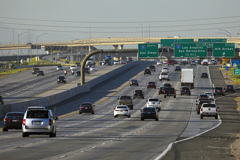 The morning commute on the southbound 15 Freeway in Ontario was slightly busier May 8 than in previous weeks.