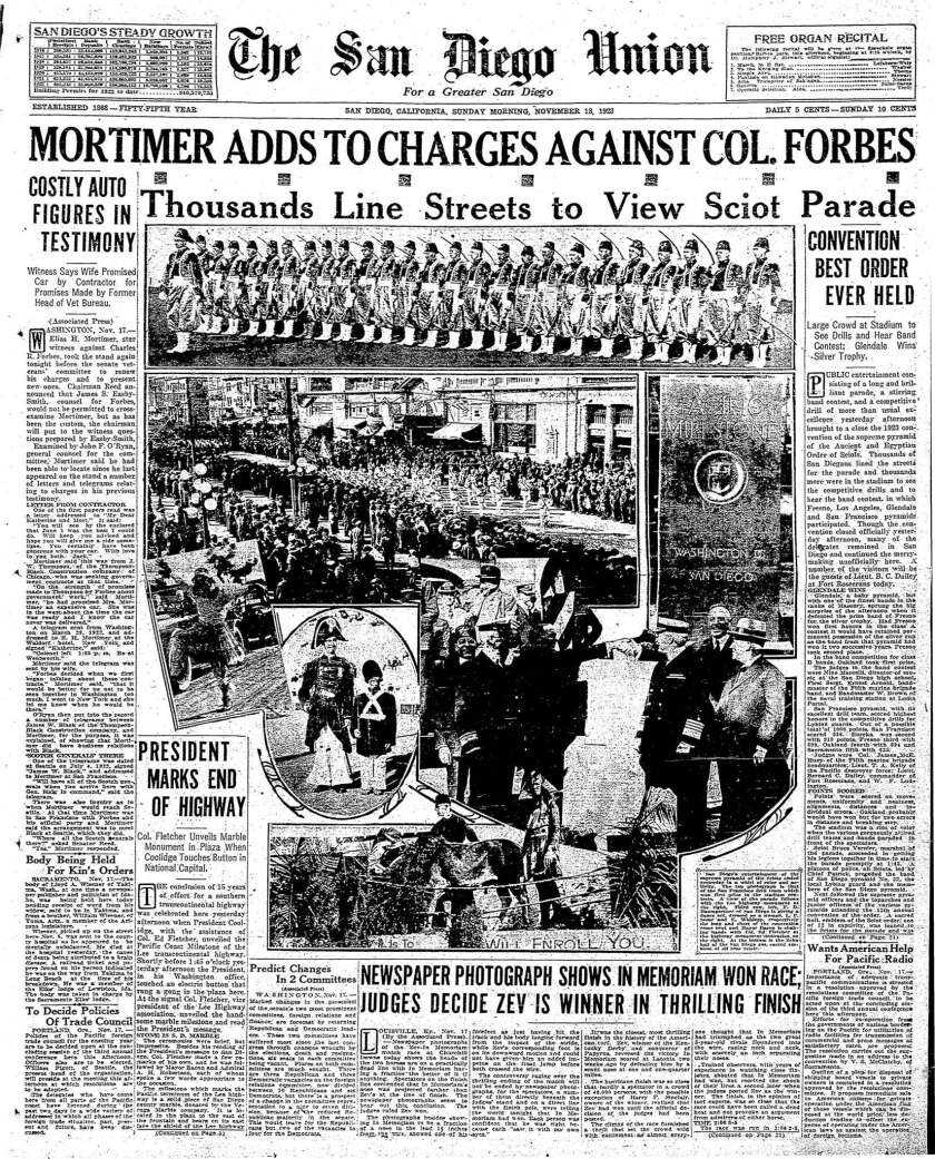 November 18, 1923 Union front page Lee Highway