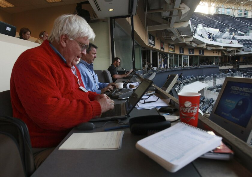 Bill Center at work covering a Padres game at PetCo Park.