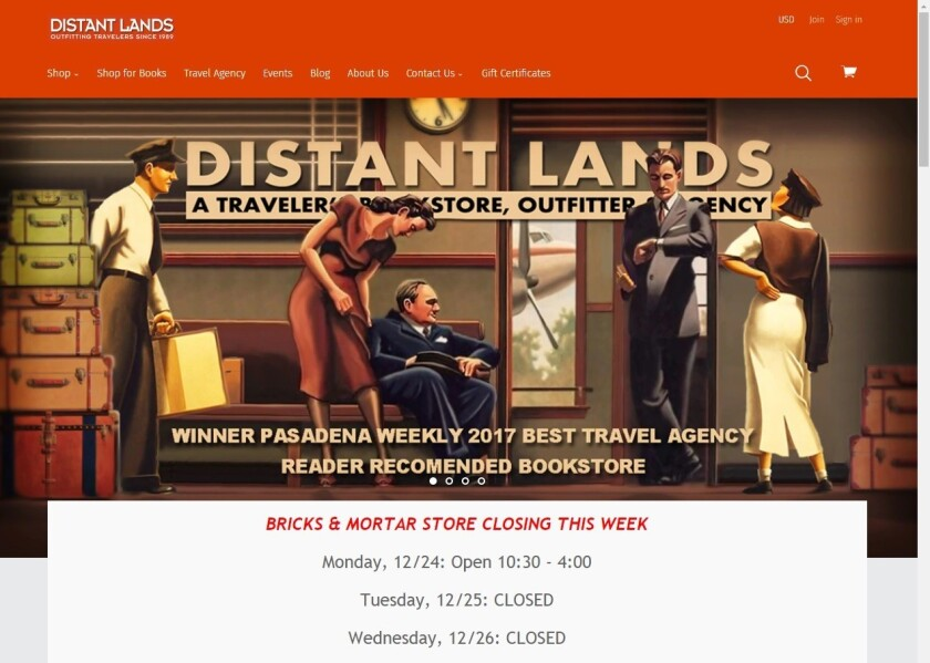 Pasadena travel bookstore Distant Lands plans to close its bricks-and-mortar operation to focus on web retailing.