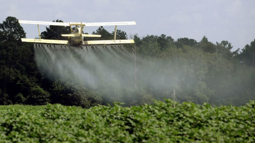 FILE - In this Aug. 4, 2009, file photo, a crop duster sprays a field of crops just outside Headland