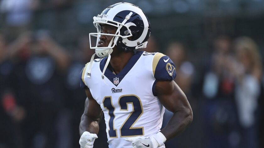 Los Angeles Rams wide receiver Brandin Cooks warms up before the start of an NFL football game again
