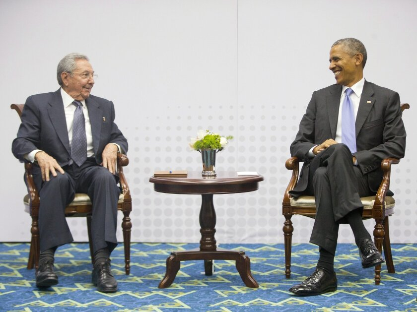 U.S. President Obama meets with Cuban leader Raul Castro at the Summit of the Americas in Panama City, Panama, on April 11.