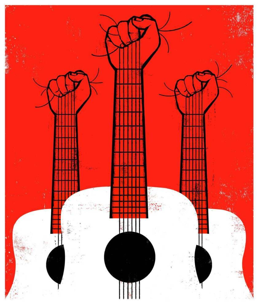 Illo for Protest Music Sunday piece running on July 1st, 2018. Credit is Edel Rodriguez / For The T