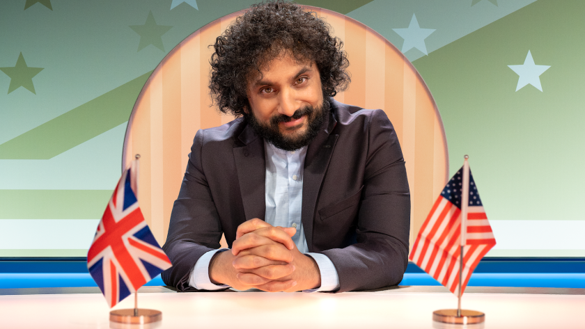 "Comedian Nish Kumar hosts Quibi's political satire show ""Hello America."""